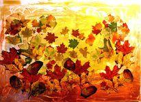 Acryl servietten spezialpasten, Mischtechnik, Herbstlaub
