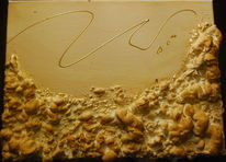 Hardschaum, Goldblatt, Tonerde, Acrylmalerei