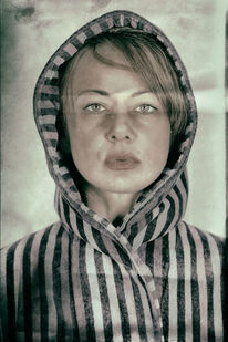 Vintage, Frau, Lippen, Portrait