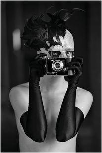 Handschuhe, Maske, Frau, Kamera