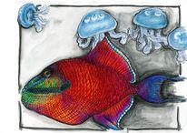 Bunt, Meerestiere, Papageienfisch quallen, Fisch