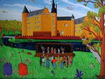 Burg, Naive malerei, Jugendburg gemen, Tänzer