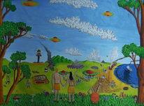 Acrylmalerei, Evakuierung, Naive malerei, Fliegende untertassen