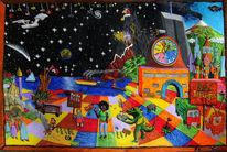Vulkan, Acrylmalerei, Naive malerei, Drache