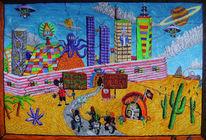Mickymaus, Mauer, Wüste, Acrylmalerei