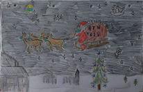 Weihnachtsmann, Corona, Schlitten, Impfstoff