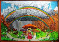 Gewitter, Berge, Abschied, Malerei