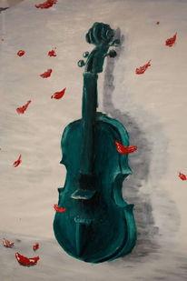 Rot, Gemälde, 2009, Geige