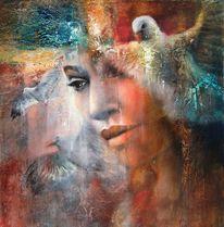 Frau, Fliegen, Gesicht, Freiheit