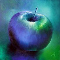 Stillleben, Blau, Apfel, Malerei