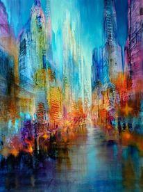 Skyline, Straße, Stadt, Blau
