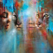 Frau, Portrait, Katze, Gesicht