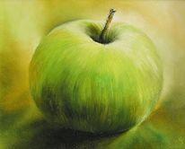 Grün, Apfel, Stillleben, Malerei