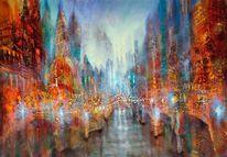 Streetlife, Schloss, Gemälde, Horizont