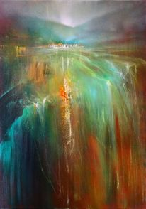 Wasserfall, Abstrakt, Horizont, Landschaft
