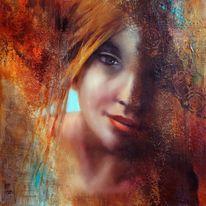 Malerei, Figur, Frau, Hell