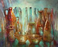 Stillleben, Schale, Vase, Gefäß