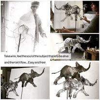 Elefant, Draht, Plastik, Realismus