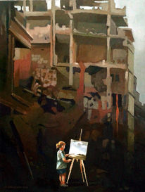 Landschaft, Malerei, Ruine, Staffelei