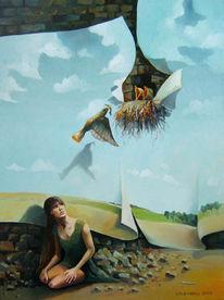Kücken, Ölmalerei, Menschen, Vogel