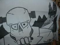 Comic, Schock, Affe, Street art