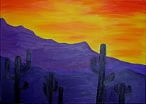 Mexiko, Wüste, Kaktus, Sonnenuntergang