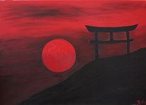 Sonnenuntergang, Japan, Malerei