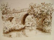 Brücke, Leipzig, Kanal, Boot