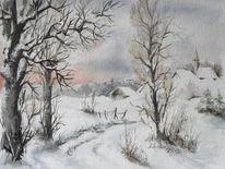 Winter, Dorf, Baum, Schnee