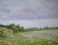 Landschaft, Wegrand, Wiese, Malerei