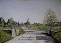 Landschaft, Gebäude, Dammscharte bei rußheim, Malerei