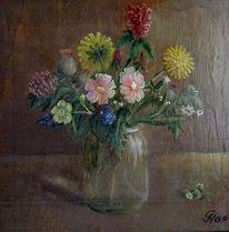 Feldblumenstrauß, Blumen, Einmachglas, Malerei