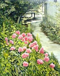 Blüte, Gartenweg, Malerei