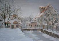 Gebäude, Landschaft, Waldmühle rußheim, Malerei