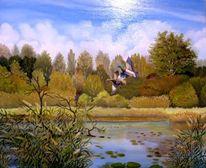 Wildenten, Altrhein, Herbst, Malerei