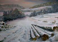 Winterlandschaft, Abendlicht, Malerei
