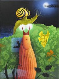 Nacktschnecke, Garten, Nacht, Acrylmalerei