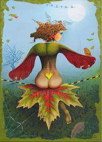 Nebel, Herbst, Acrylmalerei, Ahorn