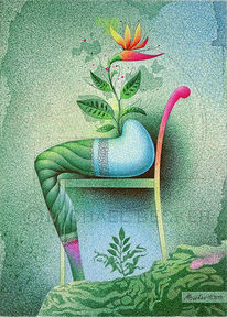 Sitzpflanze, Blüte, Pflanzen, Kugelschreiber