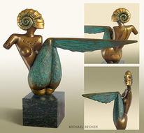 Meerjungfrau, Skulptur, Nixe, Ammonit