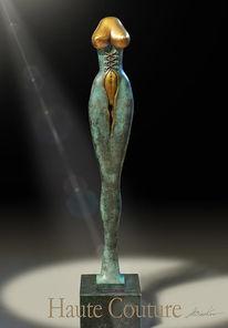 Skulptur, Kleid, Bronze, Mode