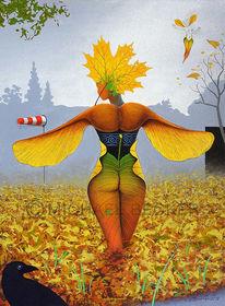 Ahornblatt, Laub, Mischtechnik, Herbst
