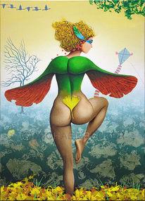 Engel, Ahornflügel, Herbstlandschaft, Acrylmalerei