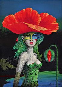 Mohna, Frauenportrait, Mohnblüten, Malerei