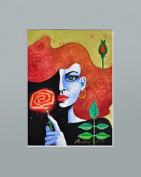 Rose, Illustration, Portrait, Frau