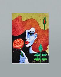 Rose, Illustration, Portrait, Frau