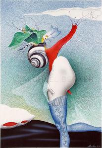 Akt, Kissen, Illustration, Airbrush