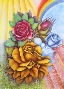 Herbst, Warme farben, Blumen, Malerei