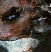 Collage, Frau, Durchdringender blick, Perlmutt