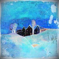 Digitale kunst, Dorf, Schnee